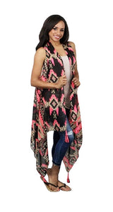 Aztec Chevron Geometric Tassel Vest Womens Dressy Cover Up Top Pink Coral Black