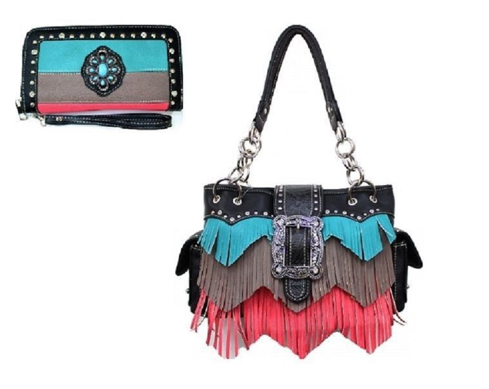 Fringe Concealed Carry Gun Buckle Aztec Chevron Purse Wallet Set Turquoise Black