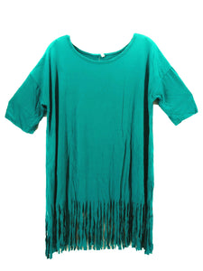 Aztec Fringe Hippy Short Sleeve Womens Ladies Shirt Top Turquoise Blue Black or White