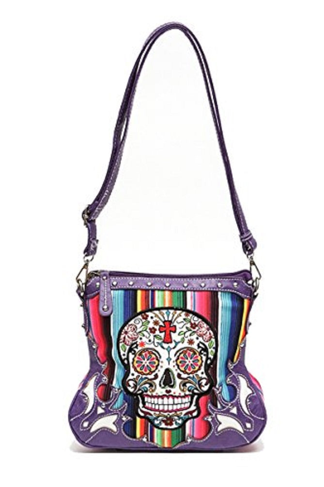 Aztec Serape Sugar Skull Cross Messenger Bag Crossbody Purse Turquoise Blue Teal or Purple
