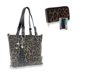 HX Leopard Tassel Bling Messenger Bag Purse Tote Zipper Wallet Cheetah Rhinestone Set