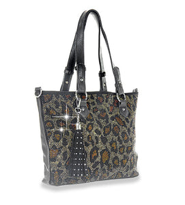 HX Leopard Tassel Bling Messenger Bag Purse Cheetah Rhinestone Crossbody Tote