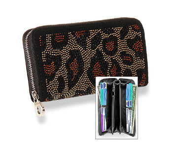 HX Bling Leopard Zipper Wallet Cheetah Rhinestone Animal Print Black Brown