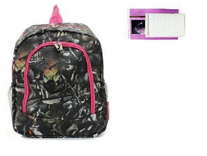 Camo Backpack Western Work School Travel Camp Bag Purse Pink Notepad