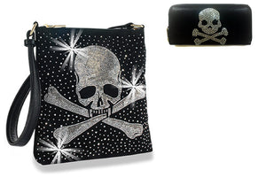 HX Bling Rhinestone Skull Cross Bones Pirate Messenger Bag Crossbody Purse Zipper Wallet Set Black