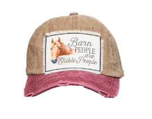 Barn People Are Stable People Hat Horse Vintage Cap Khaki Tan Red