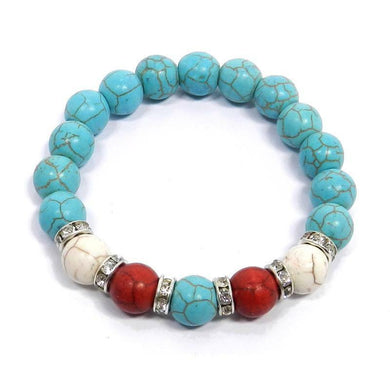 Beaded Rhinestone Stretch Bracelet Western Cowgirl Jewelry Turquoise Blue Red