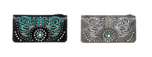 Montana West Flower Floral Studded Flower Turquoise Concho Bifold Zipper Wallet Black Gray Turquoise Blue