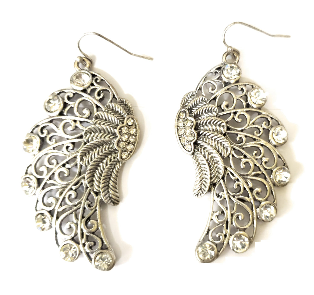 Bling Rhinestone Filigree Swirl Wings Western Hook Earrings Silvertone 2.5