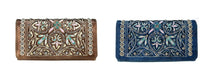 Brown or Turquoise Blue Montana West Flower Trifold Wallet