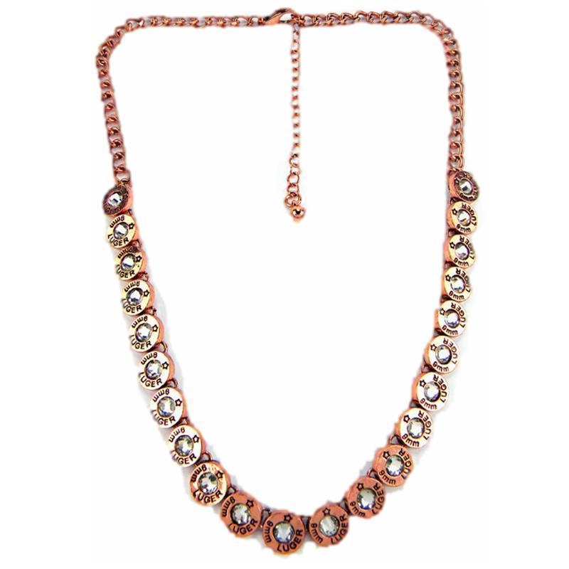 Bullet Western Cowgirl Jewelry 8mm Luger Faux Shell Necklace Copper Plated 18