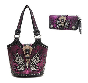 Butterfly Buckle Concealed Carry Purse Bling Handbag Zipper Wallet Set Black Gray Purple Pink Brown Bronze
