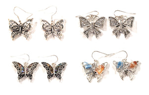 Butterfly Filigree Drop Dangle Western Fish Hook Ladies Womens Earrings Silver Tone