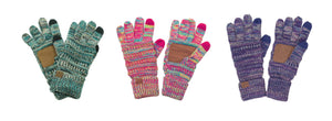 CC Touchscreen Finger Tip Knit Gloves Tablet Pad Smart Cell Phone Compatible Blue Pink or Purple