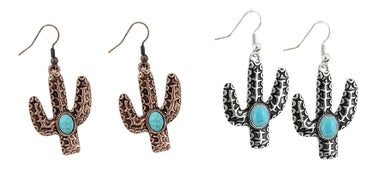 Cactus Earrings Turquoise Blue Concho Fish Hook Southwestern Jewelry 2