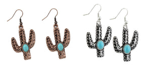 Cactus Earrings Turquoise Blue Concho Fish Hook Southwestern Jewelry 2""
