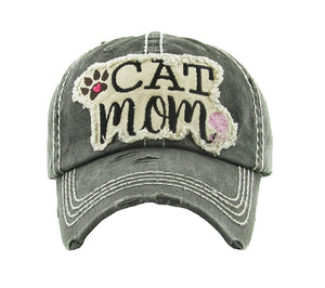 Cat Mom Hat Heart Paw Print Adjustable Womens Vintage Distressed Cap