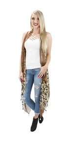 Cheetah Leopard Fringe Tassel Open Vest Womens Beach Dressy Cover Up Top