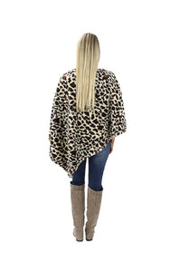 Sunshine&Rodeos Cheetah Leopard Animal Print Winter Fall Soft Poncho Top Brown Tan
