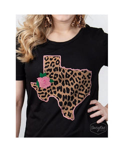 DaisyRae Cheetah Leopard Rose Texas Shirt Lone Star State Short Sleeve Top Black