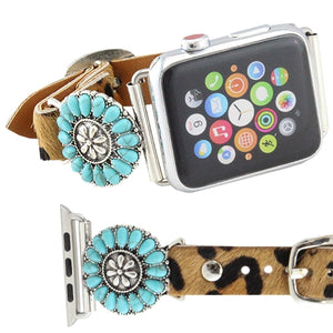 Cheetah Leopard Turquoise Blue Squash Blossom Replacement Wrist Band 42MM Watch