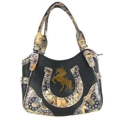 Concealed Carry Camo Horse Horseshoe Western Purse Handbag Shoulder Bag Black