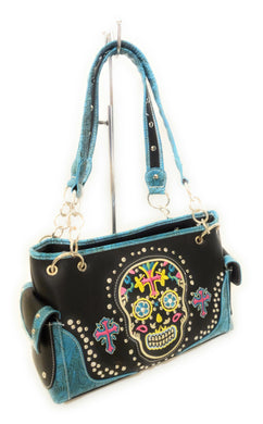 Concealed Carry Gun Cross Flower Sugar Skull Shoulder Bag Purse Handbag Black Turquoise Blue