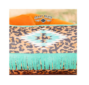 Crazy Train Lounger Leopard Pillow Cheetah Turquoise Blue Fringe Aztec Decor