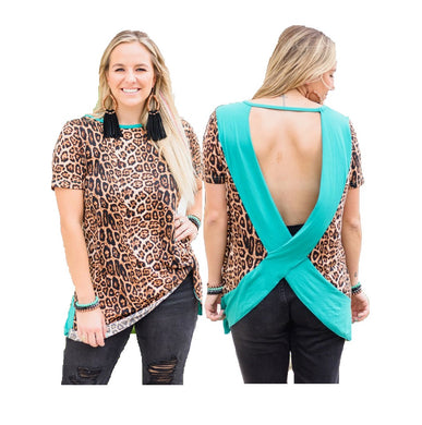 Crazy Train Leopard Open Back Shirt Cheetah Top With Side Tie Turquoise Blue