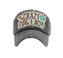 Adjustable Crazy Dog Lady Heart Bone Paw Print Baseball Cap Hat Vintage Distressed