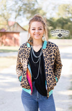 Crazy Train Serape Leopard Reversible Jacket Aztec Cheetah Coat Turquoise Blue