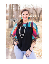 Crazy Train Serape Leopard Shirt Aztec Cheetah Flare Sleeves Top Black Turquoise Blue