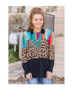 Crazy Train Serape Leopard Shirt Cheetah Aztec Long Sleeve Mix Match Top Black