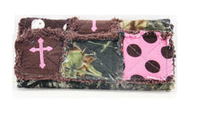 Cross Camo Polka Dot Ragbag Patchwork Trifold Ladies Womens Wallet Pink Brown