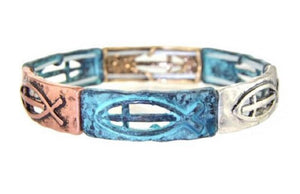 Cross Fish Jesus Spiritual Jewelry Stretch Bracelet Patina Turquoise Blue Silver Copper