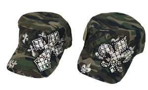 Cross Fleur De Lis Adjustable Army Camo Rhinestone Studded Vintage Hat Cap Green