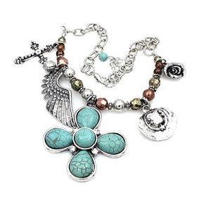 Cross Wings Hat Rose Western Boot Anklet Chain Charm Jewelry Turquoise Blue