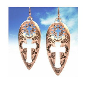 Aztec Cut Out Cross Earrings Filigree Teardrop Spiritual Jewelry Copper 2.25""
