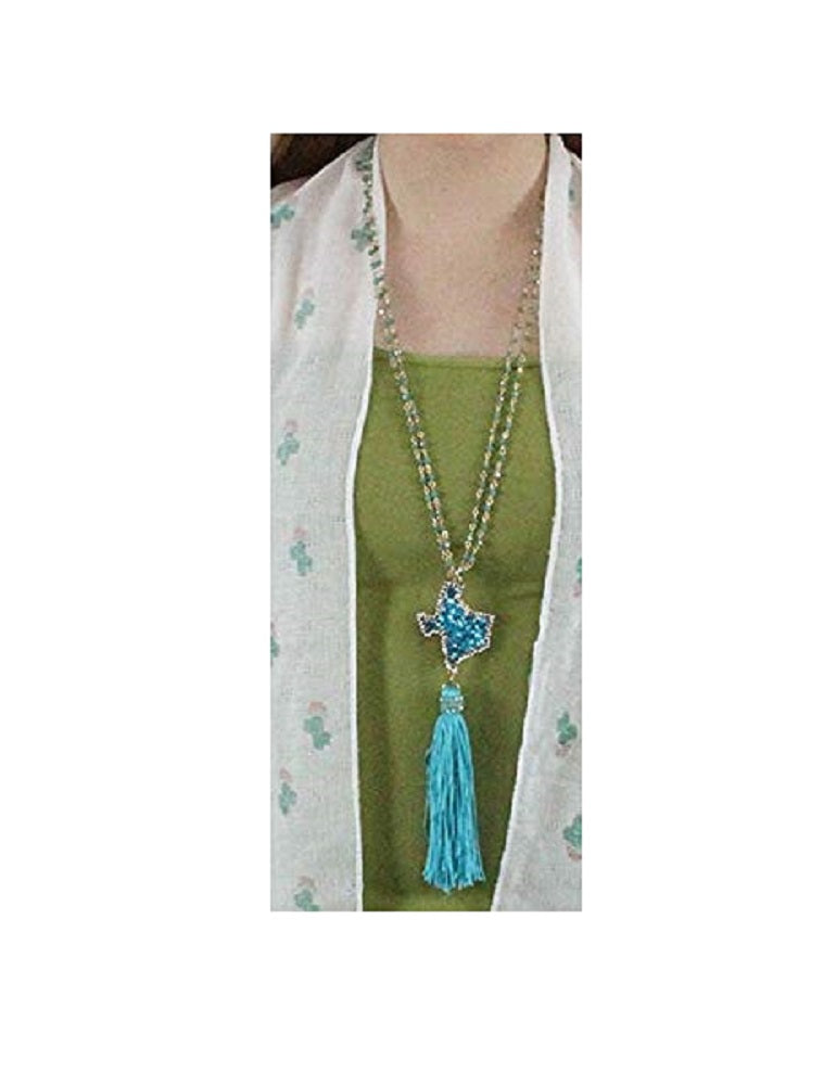 Glitter Bling Texas Necklace Lone Star State Tassel Bead Jewelry Turquoise Blue 32