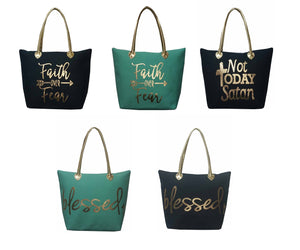 Spiritual Large Shopping Bag Tote Purse Navy or Aqua Mint Blue Gold Tone Handles