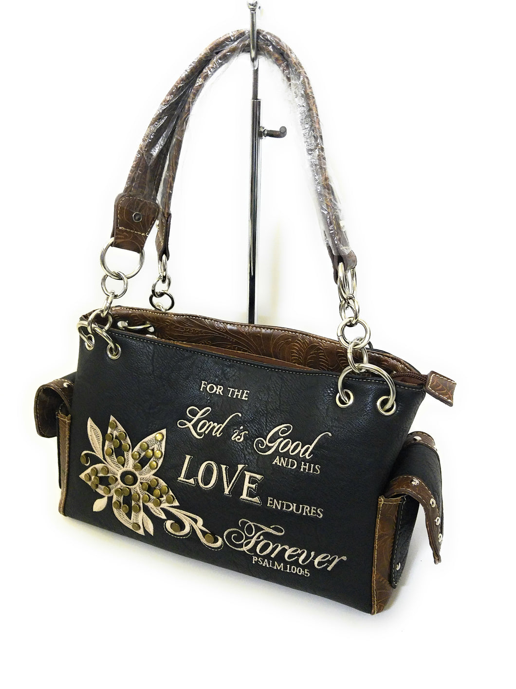 Flower Bible Verse Lord Is Good Love Forever Concealed Carry Purse Handbag Black