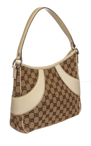 Authentic Gucci GG Monogram Small Shoulder Bag Handbag Purse Wallet Beige Brown