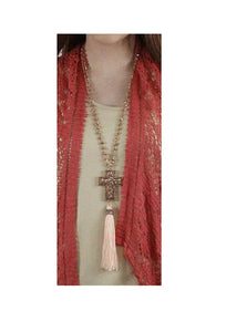 "Glitter Cross Tassel Necklace Beaded Layered Fringe Rhinestone Jewelry 32"" Turquoise Blue or Rose Gold"