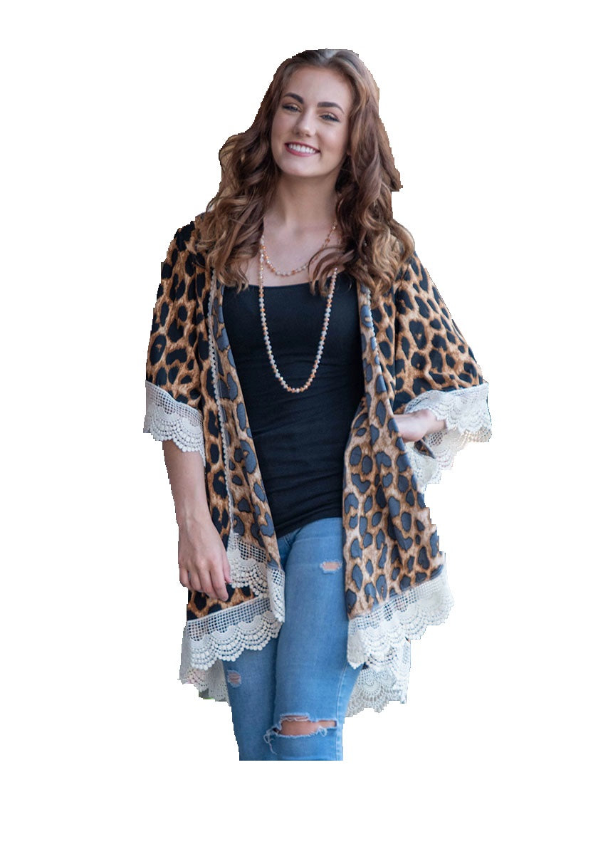 Grace&Emma Leopard Lace Kimono Cheetah Cardigan Lightweight Jacket Top Cover Up Brown Tan