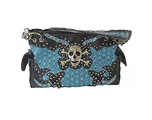Rhinestone Skull Cross Bones Concealed Carry Gun Purse Womens Shoulder Bag Blue