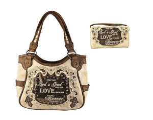 Cross Lord God Love Forever Psalm Verse Concealed Carry Purse Wallet Beige Brown