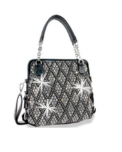 HX Extra Bling Rhinestone Abstract Messenger Bag Crossbody Shoulder Purse Black or Purple