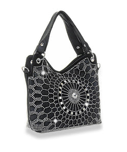 HX Flower Floral Bling Rhinestone Messenger Bag Crossbody Purse Black