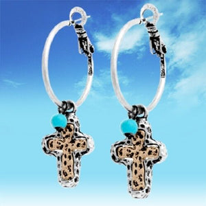 Hammered Cross Earrings Western Cowgirl Jewelry Turquoise Silver Gold 1.7""