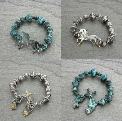Gun Crossed Pistols Horse Jewelry Stretch Bracelet Patina Turquoise Blue Silver